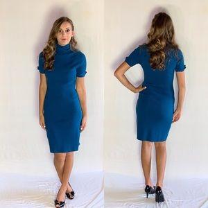 Blue turtleneck pencil dress